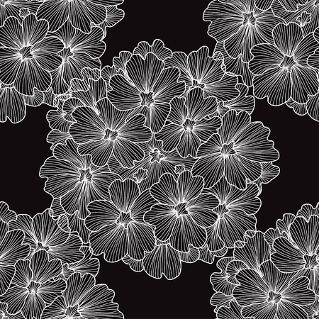 Elegant pattern with hand drawn decorative verbena flowers, design elements. Vettoriali
