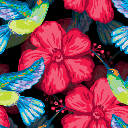 Elegant seamless pattern with colibri and hibiscus, design elements. Floral tropical pattern for invitations, cards, print, gift wrap, manufacturing, textile, fabric, wallpapers