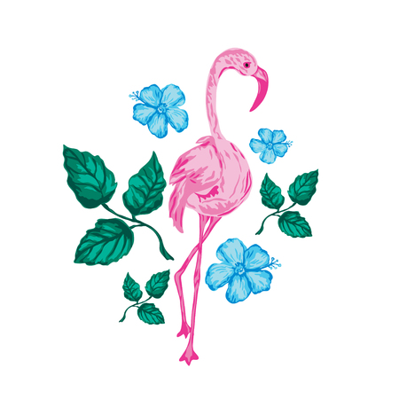 Decorative flamingo bird, design element. Can be used for cards, invitations, banners, posters, print design, wallpapers, fabric, textile. Exotic, tropical background