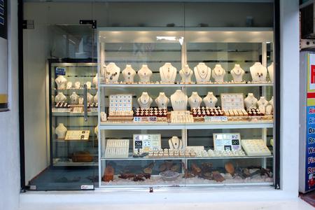January 14, 2018, Hikkaduwa, Sri lanka. Jewelry shop. Popular touristic asian destination. Hikkaduwa city view. Bijouterie.