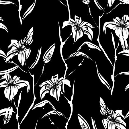 Elegant seamless pattern with lilly flowers, design elements. Floral  pattern for invitations, cards, print, gift wrap, manufacturing, textile, fabric, wallpapers Illustration
