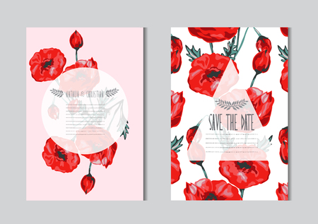 Elegant cards with decorative poppy flowers, design elements. Can be used for wedding, baby shower, mothers day, valentines day, birthday cards, invitations, greetings. Vintage decorative flowers.  イラスト・ベクター素材