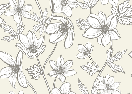 Elegant seamless pattern with anemone flowers, design elements. Floral pattern for invitations, cards, print, gift wrap, manufacturing, textile, fabric, wallpapers