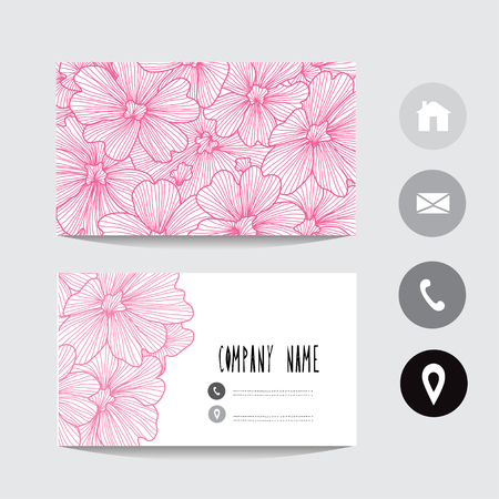Business card template with verbena flowers, design element. Can be used also for greeting cards, banners, invitations, flyers, posters. Colorful background. Editable