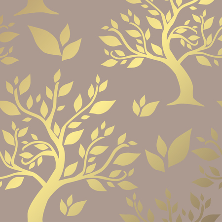 Elegant golden pattern with hand drawn decorative trees, design elements. Floral pattern for invitations, greeting cards, scrapbooking, print, gift wrap, manufacturing