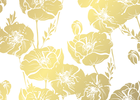 Elegant golden pattern with hand drawn decorative poppies, design elements. Floral pattern for invitations, greeting cards, scrapbooking, print, gift wrap, manufacturing