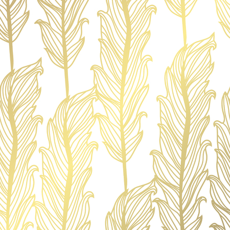 Elegant golden pattern with hand drawn decorative feathers, design elements. Abstract pattern for invitations, greeting cards, scrapbooking, print, gift wrap, manufacturing