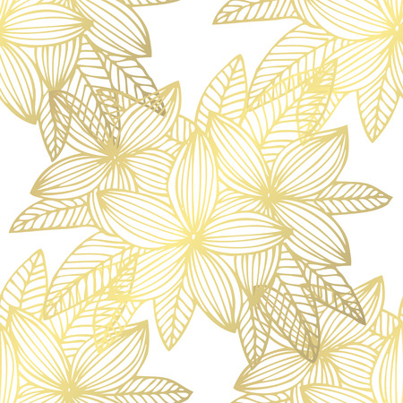 Golden seamless pattern with plumeria flowers, design elements. Floral  pattern for invitations, cards, print, gift wrap, manufacturing, textile, fabric, wallpapers