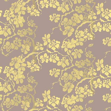 Golden seamless pattern with sakura flowers, design elements. Floral pattern for invitations, cards, print, gift wrap, manufacturing, textile, fabric, wallpapers Vetores