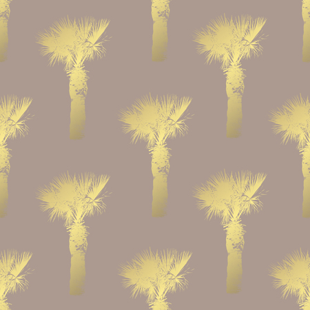 Golden seamless pattern with palm trees, design elements. Exotic  pattern for invitations, cards, print, gift wrap, manufacturing, textile, fabric, wallpapers Иллюстрация