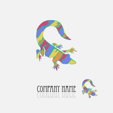 Abstract crocodile sign/symbol in vivid colors, design element. Can be used for corporate identity, company emblem, jewelry shape, print, labels, cards, manufacturing. Animal theme