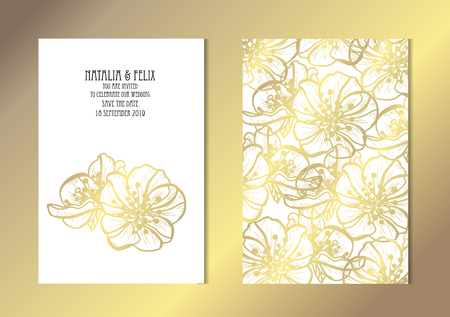 Elegant golden cards with decorative sakura flowers, design elements. Can be used for wedding, baby shower, mothers day, valentines day, birthday, rsvp cards, invitations, greetings. Golden template background Vector Illustration