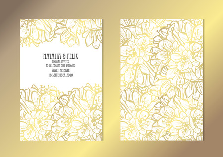 Elegant golden cards with decorative clivia flowers, design elements. Can be used for wedding, baby shower, mothers day, valentines day, birthday, rsvp cards, invitations, greetings. Golden template background