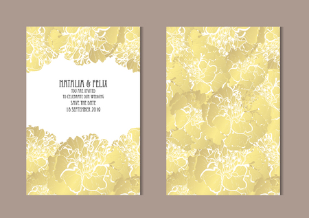Elegant golden cards with marigold flowers, design elements. Can be used for wedding, baby shower, mothers day, valentines day, birthday, rsvp cards, invitations, greetings. Golden template background