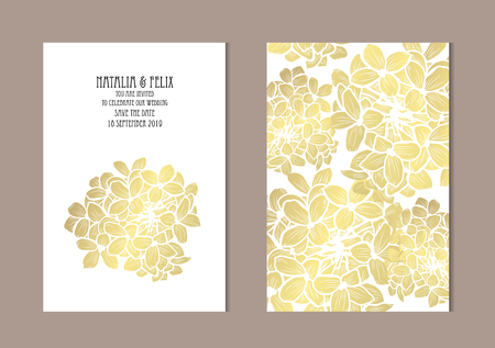 Elegant golden cards with decorative , design elements. Can be used for wedding, baby shower, mothers day, valentines day, birthday, rsvp cards, invitations, greetings. Golden template background Vector Illustration