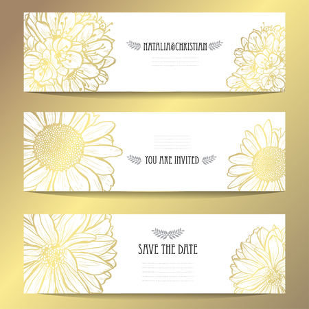 Elegant golden cards with decorative flowers, design elements. Can be used for wedding, baby shower, mothers day, valentines day, birthday, rsvp cards, invitations, greetings. Golden template background