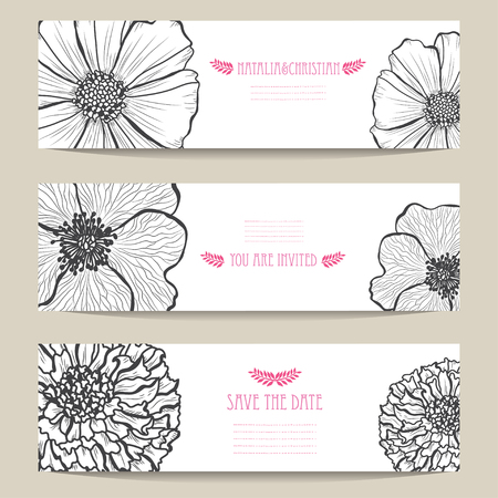 Elegant cards with decorative flowers, design elements. Can be used for wedding, baby shower, mothers day, valentines day, birthday cards, invitations, greetings. Vintage decorative flowers. Vektoros illusztráció