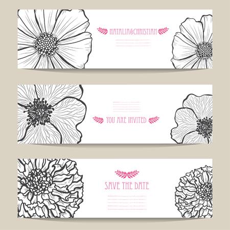 Tarjetas elegantes con flores decorativas, elementos de diseño. Se puede utilizar para bodas, baby shower, día de la madre, día de San Valentín, tarjetas de cumpleaños, invitaciones, saludos. Flores decorativas vintage. Ilustración de vector