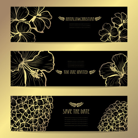Elegant golden cards with decorative flowers, design elements. Can be used for wedding, baby shower, mothers day, valentines day, birthday, rsvp, invitations, greetings. Golden template background
