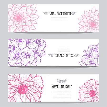 Carte eleganti con fiori decorativi, elementi di design. Può essere utilizzato per matrimoni, baby shower, festa della mamma, San Valentino, biglietti d'auguri, inviti, saluti. Fiori decorativi vintage. Vettoriali
