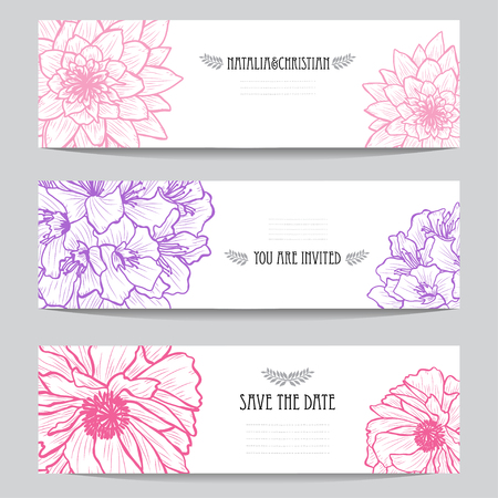 Eleganckie karty z ozdobnymi kwiatami, elementy projektu. Może być używany na ślub, chrzciny, dzień matki, walentynki, kartki urodzinowe, zaproszenia, pozdrowienia. Vintage kwiaty ozdobne. Ilustracje wektorowe
