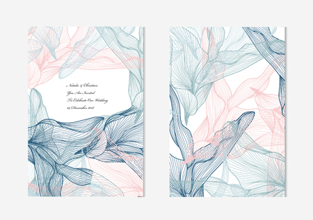 Elegant cards with decorative leaves, design elements. Can be used for wedding, baby shower, mothers day, valentines day, birthday cards, invitations, greetings. Vintage decorative cards