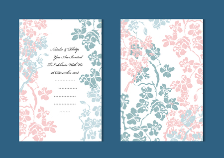 Elegant cards with sakura flowers, design elements. Can be used for wedding, baby shower, mothers day, valentines day, birthday cards, invitations, greetings. Vintage decorative flowers.