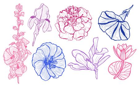 Ensemble de fleurs décoratives, éléments de conception. Peut être utilisé pour les cartes, les invitations, les bannières, les affiches, la conception imprimée. Fond floral dans le style d'art en ligne