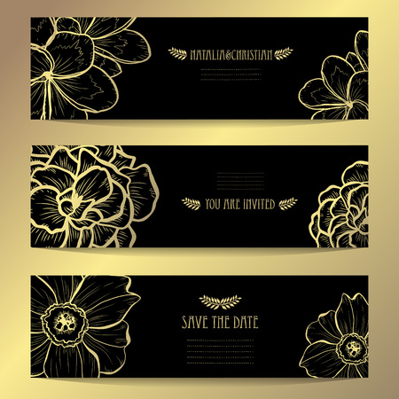 Elegant golden cards with decorative flowers, design elements. Can be used for wedding, baby shower, mothers day, valentines day, birthday, rsvp, invitations, greetings. Golden template background Illustration