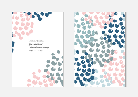 Elegant cards with grunge dots, design elements. Can be used for wedding, baby shower, mothers day, valentines day, birthday cards, invitations, greetings Vector Illustration