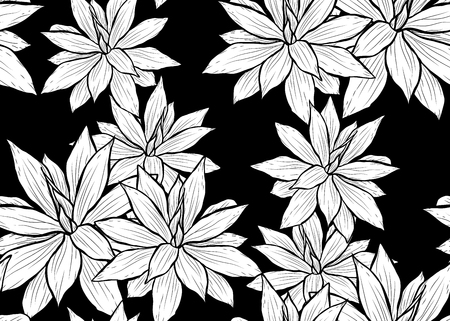 Elegant seamless pattern with succulent plants, design elements.