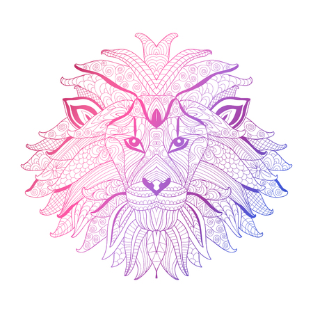 Elegant hand drawn decorative neon lion, design element. Can be used for invitations, greeting cards, scrapbooking, print, gift wrap, manufacturing. Animal theme