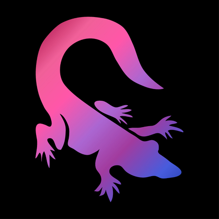 Abstract crocodile symbol in neon colors, design element. Can be used for invitations, greeting cards, scrapbooking, print, labels, emblems, manufacturing. Reptile theme