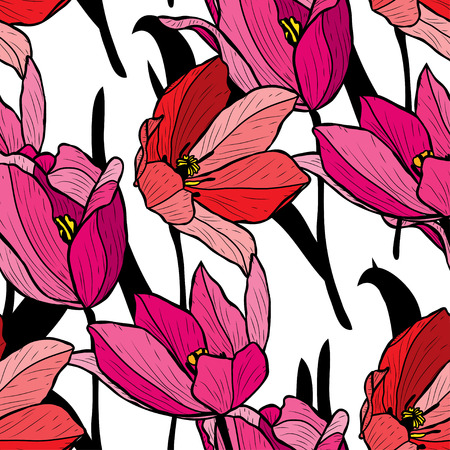 Elegant seamless pattern with tulip flowers, design elements. Floral pattern for invitations, cards, print, gift wrap, manufacturing, textile, fabric, wallpapers