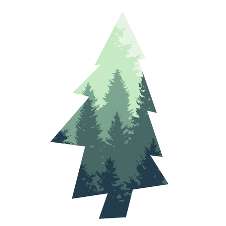 Decorative fir tree silhouette, design element. Can be used for cards, invitations, banners, posters, print design, web backgrounds, wallpapers. Nature theme
