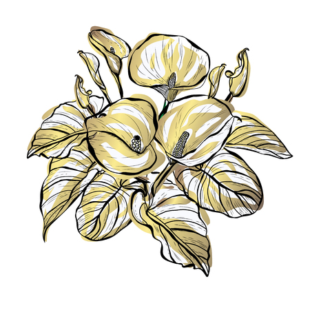 Decorative calla flowers, design elements. Can be used for cards, invitations, banners, posters, print design. Golden flowers