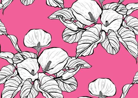 Elegant seamless pattern with calla flowers, design elements. Floral  pattern for invitations, cards, print, gift wrap, manufacturing, textile, fabric, wallpapers