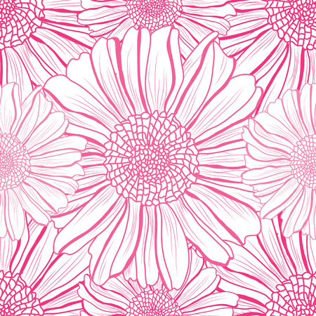 Elegant seamless pattern with aster flowers, design elements. Floral  pattern for invitations, cards, print, gift wrap, manufacturing, textile, fabric, wallpapers