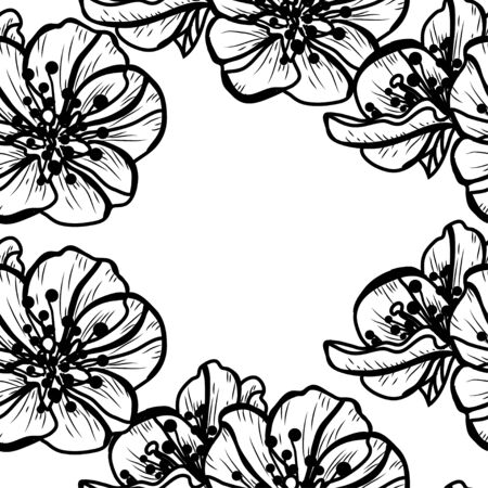Elegant seamless pattern with hand drawn decorative cherry blossom flowers, design elements. Floral pattern for wedding invitations, greeting cards, scrapbooking, print, gift wrap, manufacturing. Ilustração