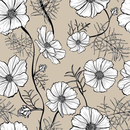 Elegantes nahtloses Muster mit Kosmosblumen, Designelementen. Blumenmuster für Einladungen, Karten, Druck, Geschenkpapier, Herstellung, Textil, Stoff, Tapeten Vektorgrafik