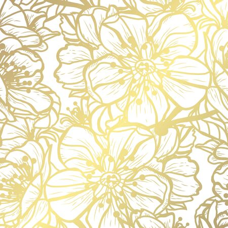Golden seamless pattern with sakura flowers, design elements. Floral  pattern for invitations, cards, print, gift wrap, manufacturing, textile, fabric, wallpapers
