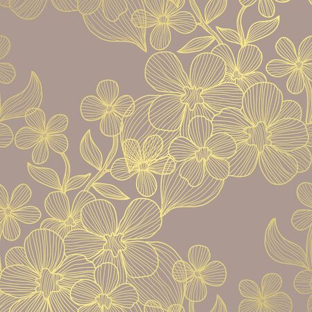Elegant golden pattern with decorative flowers, design elements. Floral pattern for invitations, greeting cards, scrapbooking, print, gift wrap, manufacturing