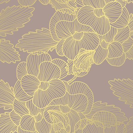 Elegant golden pattern with decorative pansy flowers, design elements. Floral pattern for invitations, greeting cards, scrapbooking, print, gift wrap, manufacturing