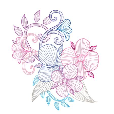 Decorative abstract  flowers, design elements. Can be used for cards, invitations, banners, posters, print design. Floral background in line art style