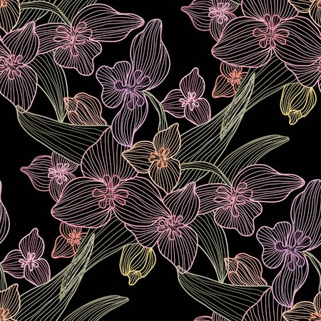 Elegant seamless pattern with lily flowers, design elements. Floral  pattern for invitations, cards, print, gift wrap, manufacturing, textile, fabric, wallpapers Illustration