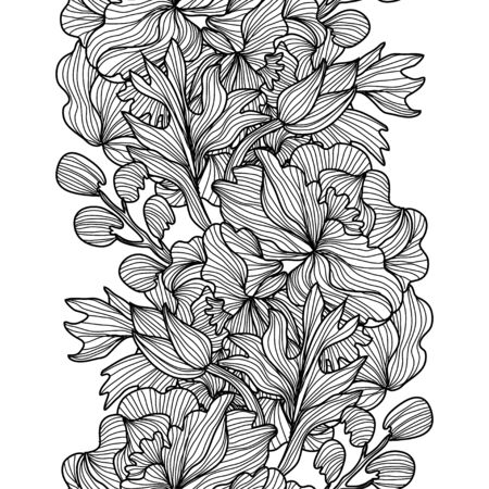 Elegant seamless pattern with peony flowers, design elements. Floral pattern for invitations, cards, print, gift wrap, manufacturing, textile, fabric, wallpapers Vetores