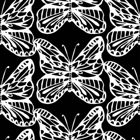 Elegant seamless pattern with hand drawn butterflies, design elements. Can be used for invitations, cards, print, gift wrap, manufacturing, textile, fabric, wallpapers