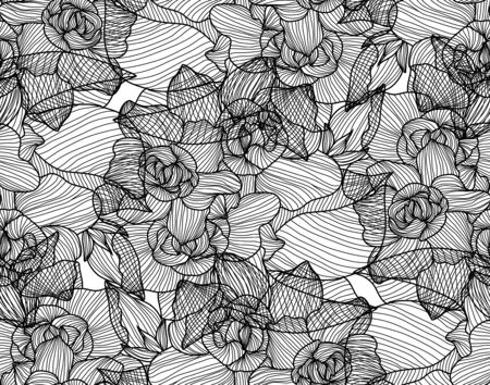 Elegant seamless pattern with gardenia flowers, design elements. Floral  pattern for invitations, cards, print, gift wrap, manufacturing, textile, fabric, wallpapers
