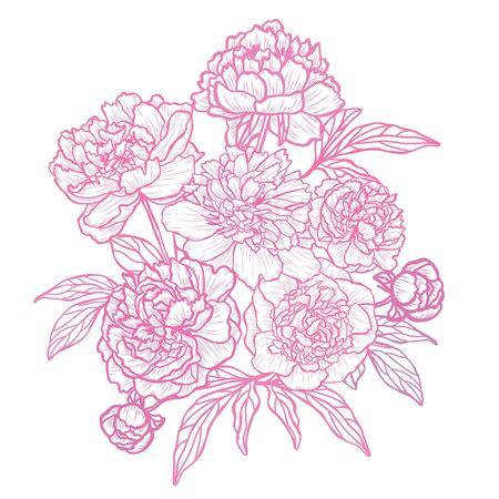 Flores abstractas decorativas, elementos de diseño. Se puede utilizar para tarjetas, invitaciones, pancartas, carteles, diseño de impresión. Fondo floral en estilo de arte lineal
