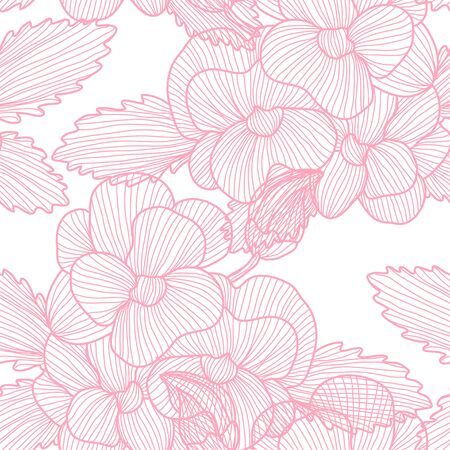 Elegant seamless pattern with pansy flowers, design elements. Floral  pattern for invitations, cards, print, gift wrap, manufacturing, textile, fabric, wallpapers